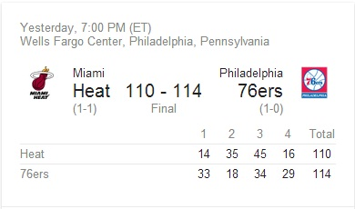 Sixers Heat season opener