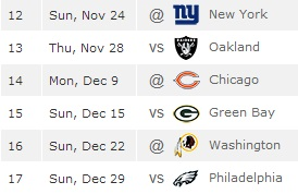 Cowboys remaining schedule
