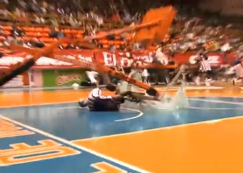 "William ""Bull"" Bullard narrowly avoids a serious injury when his slam dunk stunt went awry."